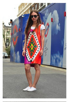 sequined ashish dress - H&M shoes - Dries Van Noten sunglasses - H&M t-shirt