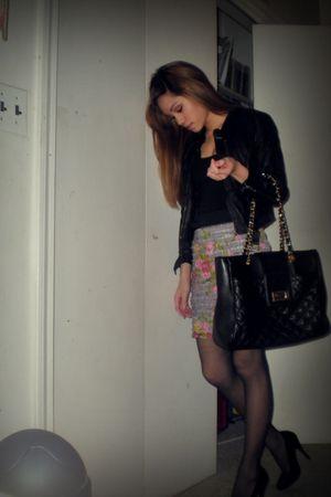 black H&M jacket - black H&M top - gray Wet Seal skirt - black Aldo shoes - blac