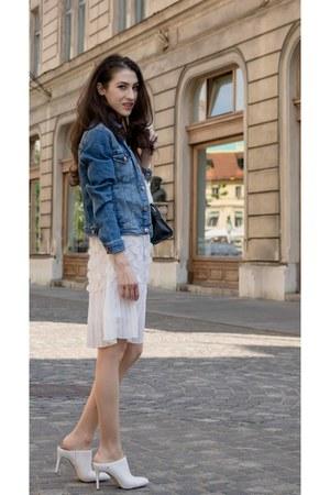 white storets dress - blue denim jacket H&M jacket