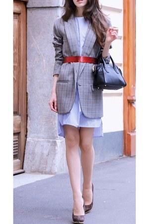 heather gray plaid Glen blazer - light blue shirt dress storets dress