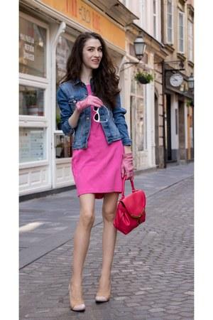 blue H&M jacket - bubble gum bailey 44 dress - white cat eye Le specs sunglasses