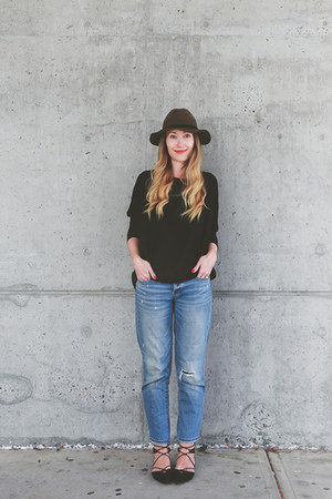 H&M hat - American Eagle jeans - Zara top - H&M flats