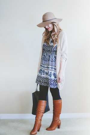 Forever 21 dress - Aldo Shoes boots - Forever 21 hat - asos tights