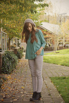 Shop Ruche top - Old Navy boots - American Eagle pants