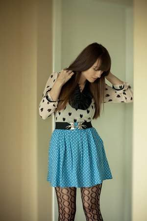 H&M blouse - modcloth belt - modcloth skirt