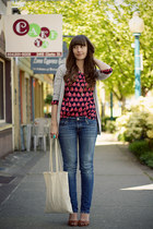 Old Navy top - American Eagle jeans - Zara cardigan - Jeffrey Campbell wedges