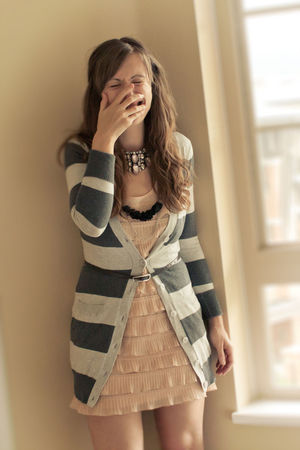 pink H&M dress - silver kirsh cardigan - black OLIVE  mE necklace