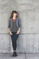 Stella & Dot necklace - Old Navy boots - American Eagle jeans - Zara t-shirt