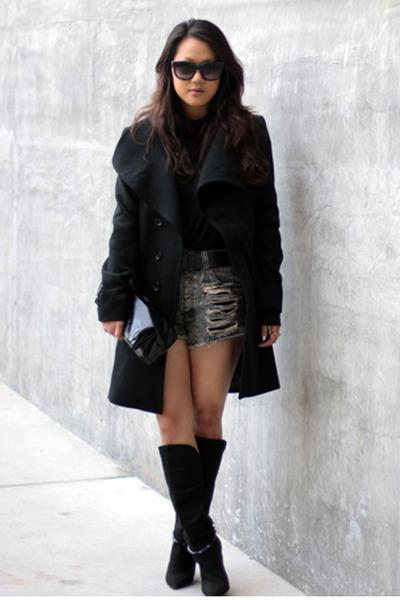 black Yesstyle coat - black Isabel Marant boots - black H&M shirt