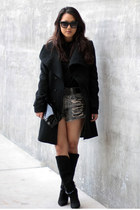 black Yesstyle coat - black Isabel Marant boots - black H&M shirt