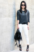 black kirsten Alexander Wang bag - white Zara pants - black LAMB heels