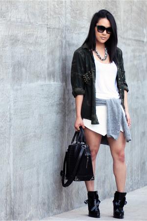 white H&M sweater - black Zara boots - white H&M shirt