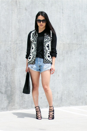 light blue MinkPink shorts - black Schutz shoes - black Zara jacket