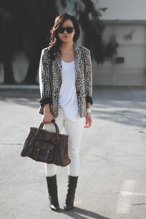white H&M top - black Giuseppe Zanotti boots - light brown Zara blazer