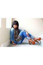denim Future Favorites shirt - brown Jessica Simpson shoes - Flying Monkey jeans