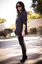 black Urban Outfitters jeans - black Zara boots - black the bfs blazer