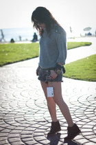 heather gray DIY sweater - dark gray MinkPink shorts - black Aldo sneakers