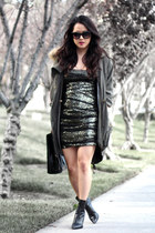 bronze sequin and mesh Bebe dress - black shelly Alexander Wang boots