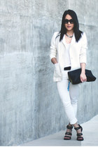 white H&M blazer - black H&M bag - white Zara pants - white bycorpus top