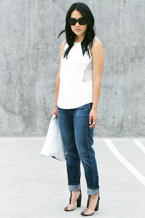 navy Lucky Brand jeans - white Zara top - black agata Alexander Wang heels