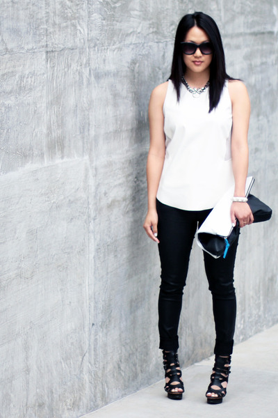 white Zara top - white clutch H&M bag - black LAMB heels