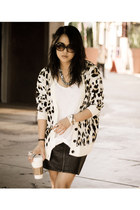 camel leopard MinkPink cardigan - black faux skirt H&M skirt