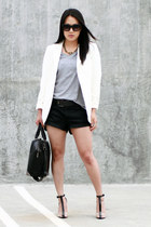 black agata Alexander Wang shoes - white H&M blazer - silver H&M shirt