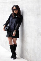 black Isabel Marant boots - navy H&M shirt - black Marie Turnor bag