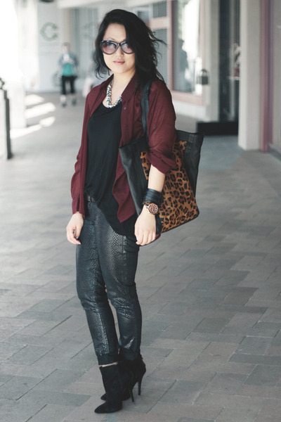 leopard toe asos bag - black Zara boots - black H&M top