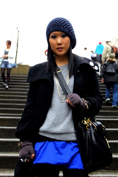 blue richard chai skirt - gray H&M sweater - black from london coat - black Marc