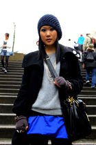 blue richard chai skirt - gray H&M sweater - black from london coat - black Marc