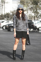 black Zara skirt - black Giuseppe Zanotti boots - charcoal gray LA Made sweater
