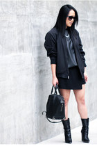 black unknown jacket - black Giuseppe Zanotti boots - black perforated Zara top