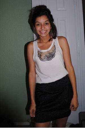 black Forever21 skirt - white shirt shirt - Urban Outfitters tights