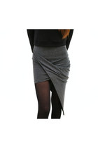 Twisted High Low Skirt [Charcoal,Black]