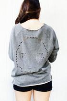 Skull Cutout Vintage Sweatshirt [GRAY]