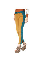 Fabric Mix Color Block Skinny Pants