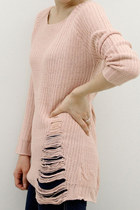 SWEET PINK SHREDDED KNIT TUNIC