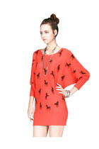 Horse Printed Dolman Sleeve Sweater Dress/Top