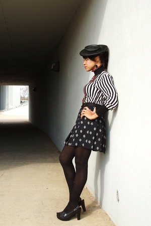 black vintage top - vintage shirt - haute couture vintage hat - Target tights -