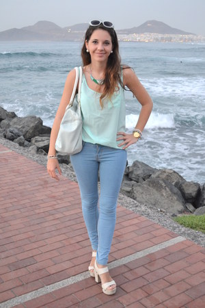 light blue Primark bag - turquoise blue Bershka jeans