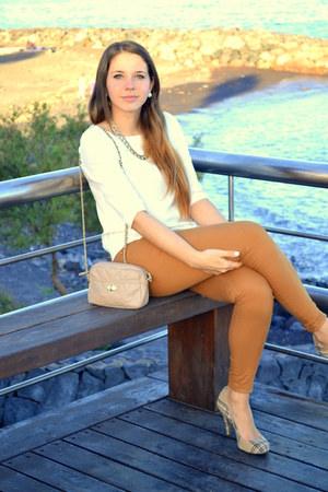 peach Primark bag - cream Primark blouse - burnt orange Bershka pants