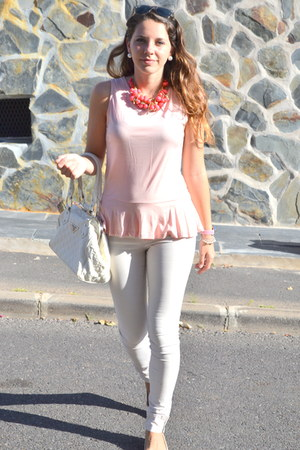 light pink BLANCO flats - white Lefties jeans - white Prada bag