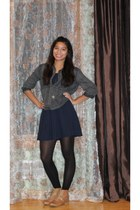 dark denim BDG shirt - lace up oxfords boots - dress - necklace