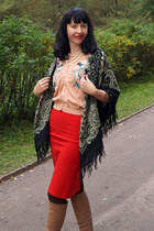 peach choiescom cardigan - dark green Pavlovo scarf - red Zara skirt