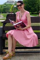 yellow Miss L shoes - bubble gum Naf Naf dress