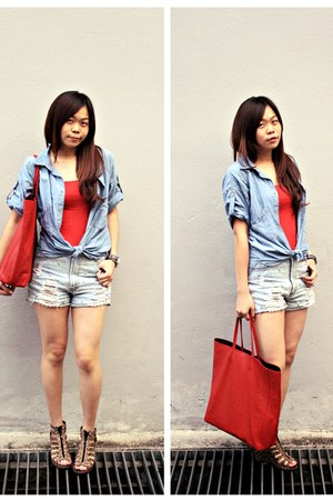 light blue Bershka shirt - red Uniqlo top - brown H&M wedges