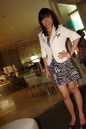 white UpToDate blazer - black MrFreddy dress - black Charles & Keith shoes - gol