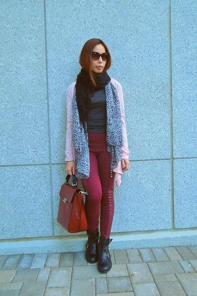 H&M scarf - Topshop boots - Zara sweater - Zara bag - zeroUV sunglasses
