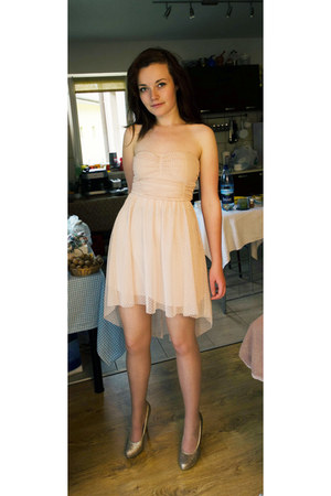 light pink Bershka dress - pink glittery Graceland pumps - no name stockings